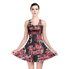 I Am The Party Text Quote Reversible Skater Dress by dflcprintsclothing