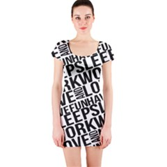 Sleep Work Love And Have Fun Short Sleeve Bodycon Dress by dflcprintsclothing