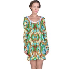 Colorful Modern Pattern Collage Long Sleeve Nightdress by dflcprintsclothing
