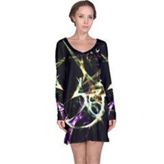 Futuristic Galaxy Dance  Long Sleeve Nightdress by dflcprintsclothing
