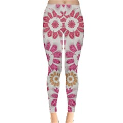 Floral Print Collage Pink Leggings  by dflcprintsclothing