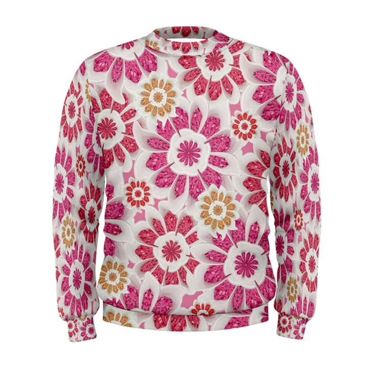Floral Print Collage Pink Men s Sweatshirt