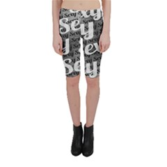 Typographic Collage Pattern Cropped Leggings