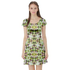 Neo Noveau Style Floral Print Short Sleeve Skater Dress by dflcprintsclothing