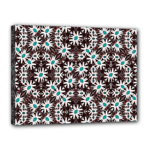 Modern Floral Geometric Pattern Canvas 16  X 12  (framed) by dflcprints