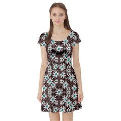 Modern Floral Geometric Pattern Short Sleeve Skater Dress by dflcprintsclothing