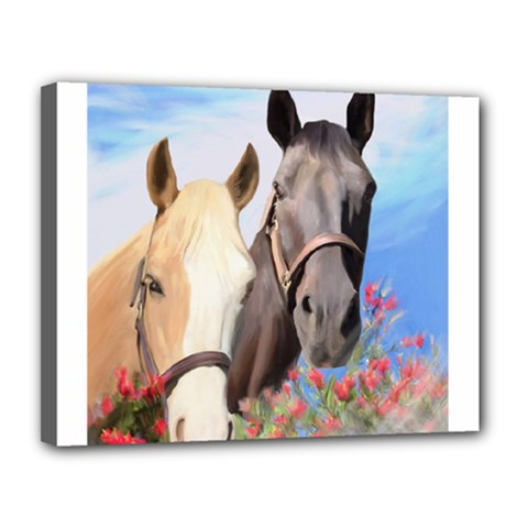 Miwok Horses Canvas 14  X 11  (framed) by JulianneOsoske