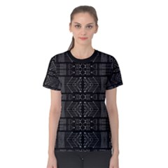 Black And White Tribal Print Women s Cotton Tee by dflcprintsclothing
