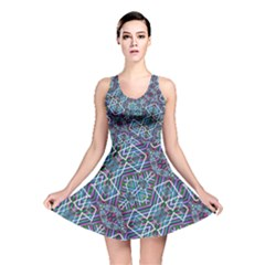 Colorful Geometric Print Reversible Skater Dress by dflcprintsclothing