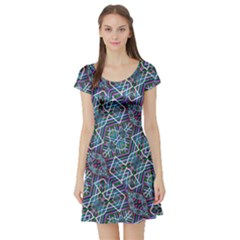 Colorful Geometric Print Short Sleeve Skater Dress by dflcprintsclothing