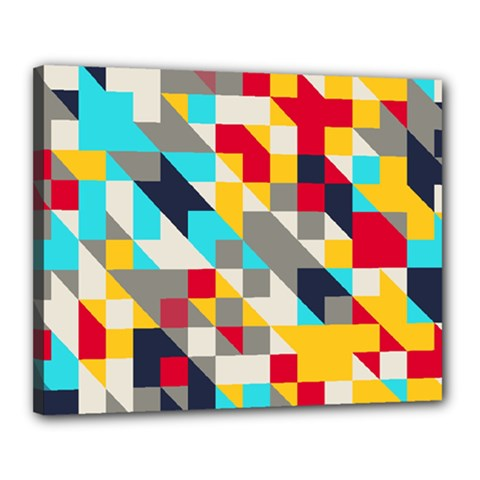 Colorful Shapes Canvas 20  X 16  (stretched) by LalyLauraFLM
