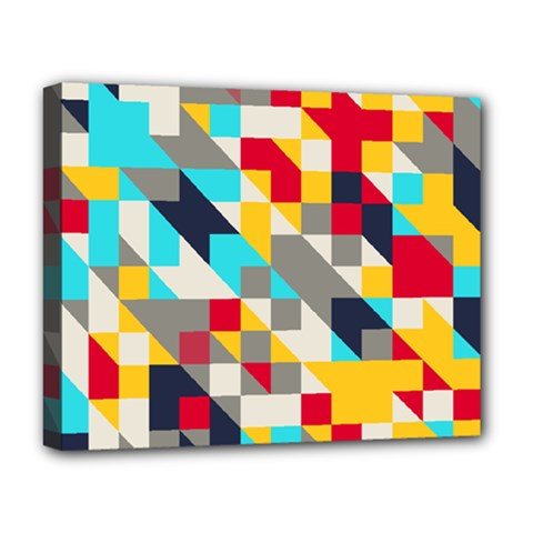 Colorful Shapes Deluxe Canvas 20  X 16  (stretched) by LalyLauraFLM
