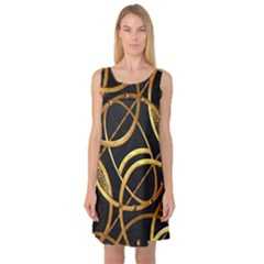 Futuristic Ornament Print Sleeveless Satin Nightdress by dflcprintsclothing