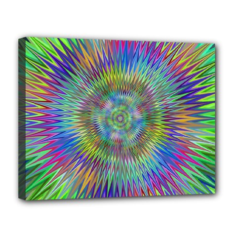 Hypnotic Star Burst Fractal Canvas 14  X 11  (framed)