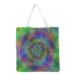 Hypnotic Star Burst Fractal Grocery Tote Bag by StuffOrSomething
