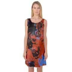 Orange Blue Black Texture Sleeveless Satin Nightdress