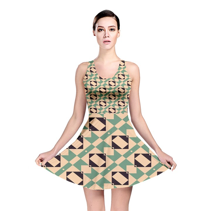 Brown green rectangles pattern Reversible Skater Dress