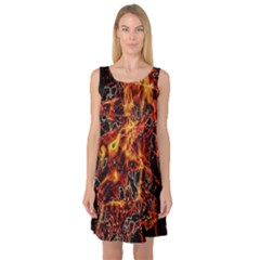 On Fire Print Sleeveless Satin Nightdress by dflcprintsclothing