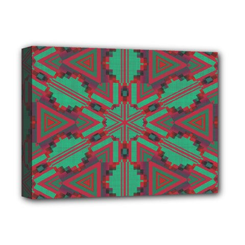 Green Tribal Star Deluxe Canvas 16  X 12  (stretched)