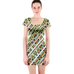 Colorful Tribal Geometric Print Short Sleeve Bodycon Dress