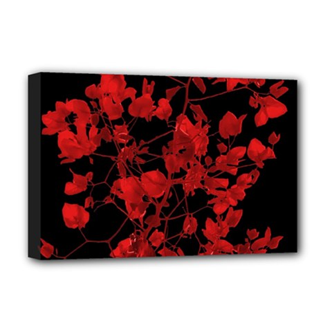 Dark Red Flower Deluxe Canvas 18  X 12  (framed) by dflcprints