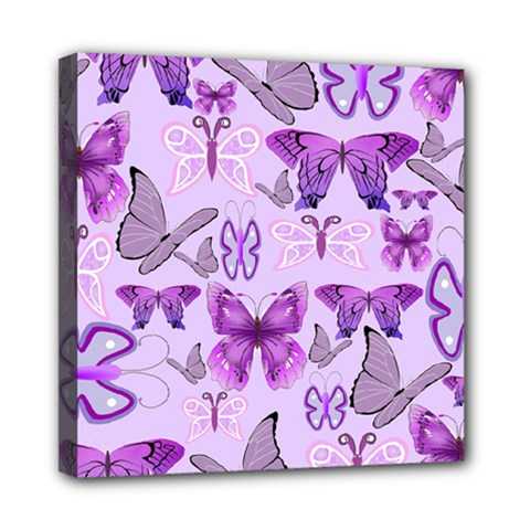 Purple Awareness Butterflies Mini Canvas 8  X 8  (framed) by FunWithFibro