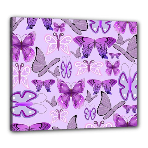 Purple Awareness Butterflies Canvas 24  X 20  (framed) by FunWithFibro