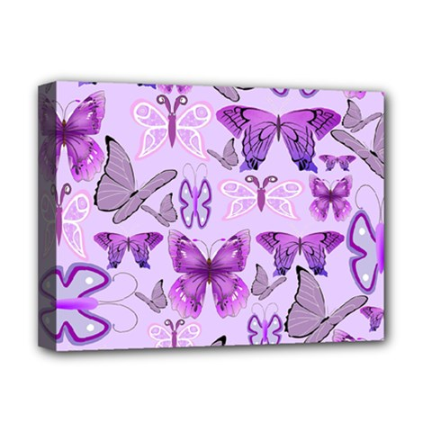 Purple Awareness Butterflies Deluxe Canvas 16  X 12  (framed)  by FunWithFibro