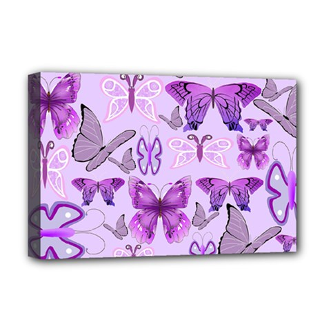 Purple Awareness Butterflies Deluxe Canvas 18  X 12  (framed) by FunWithFibro