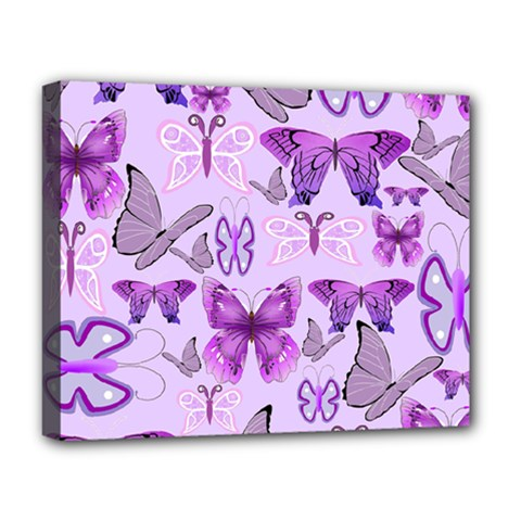Purple Awareness Butterflies Deluxe Canvas 20  X 16  (framed) by FunWithFibro