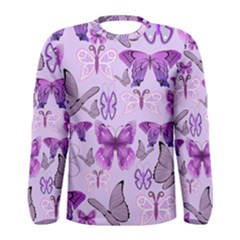 Purple Awareness Butterflies Long Sleeve T Shirt (men) by FunWithFibro