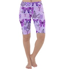 Purple Awareness Butterflies Cropped Leggings  by FunWithFibro