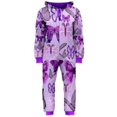 Purple Awareness Butterflies Hooded Onepiece Jumpsuit (ladies) by FunWithFibro