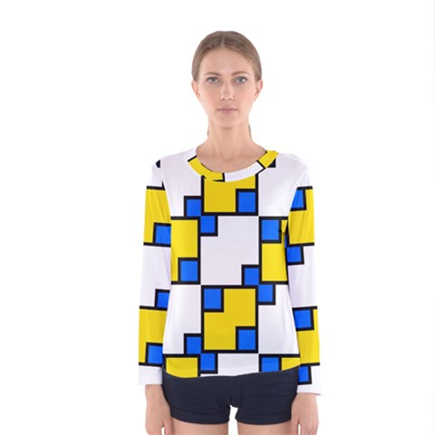 Yellow And Blue Squares Pattern  Women Long Sleeve T-shirt by LalyLauraFLM