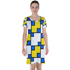 Yellow And Blue Squares Pattern  Short Sleeve Nightdress by LalyLauraFLM