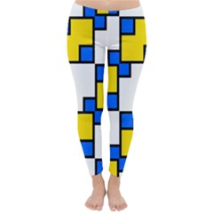 Yellow And Blue Squares Pattern  Winter Leggings