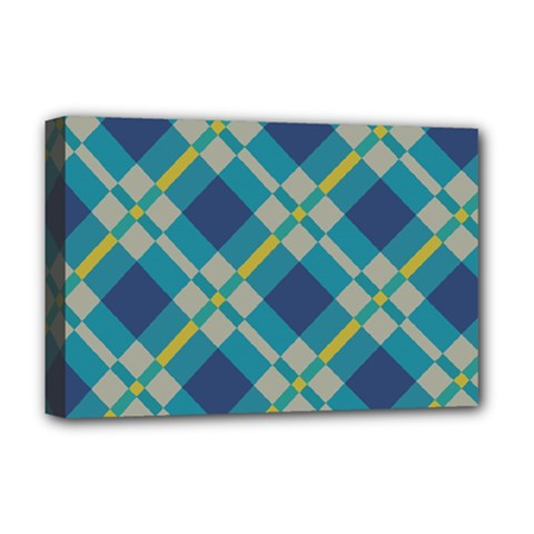 Squares And Stripes Pattern Deluxe Canvas 18  X 12  (stretched) by LalyLauraFLM