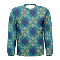Squares And Stripes Pattern Men Long Sleeve T Shirt