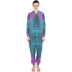 Tribal Purple Rhombus Hooded Onepiece Jumpsuit by LalyLauraFLM