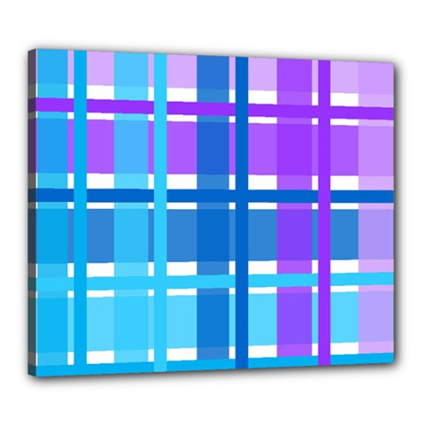 Blue & Purple Gingham Plaid Canvas 24  X 20  (framed) by StuffOrSomething