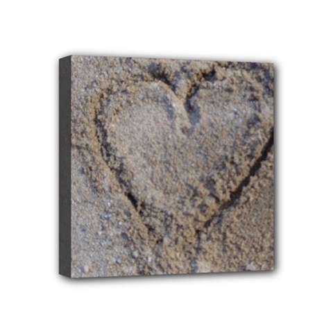 Heart In The Sand Mini Canvas 4  X 4  (framed)