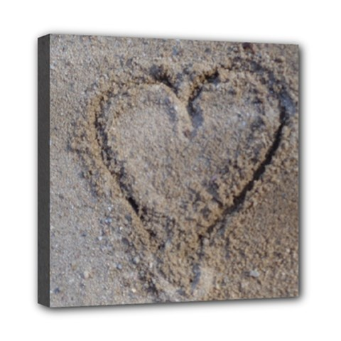 Heart In The Sand Mini Canvas 8  X 8  (framed)