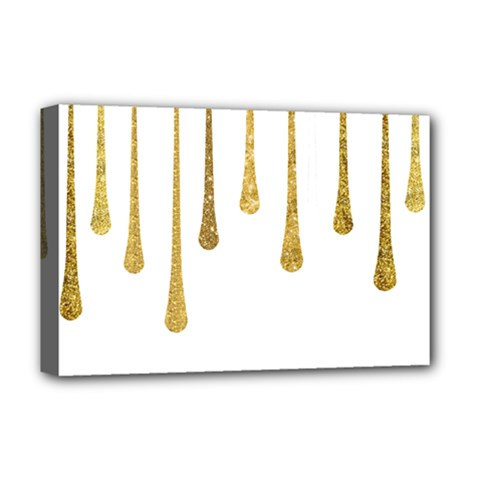 Gold Glitter Paint Deluxe Canvas 18  X 12  (framed) by Kathrinlegg
