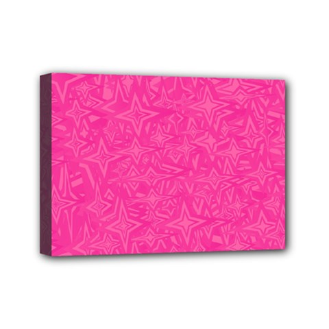 Abstract Stars In Hot Pink Mini Canvas 7  X 5  (framed) by StuffOrSomething