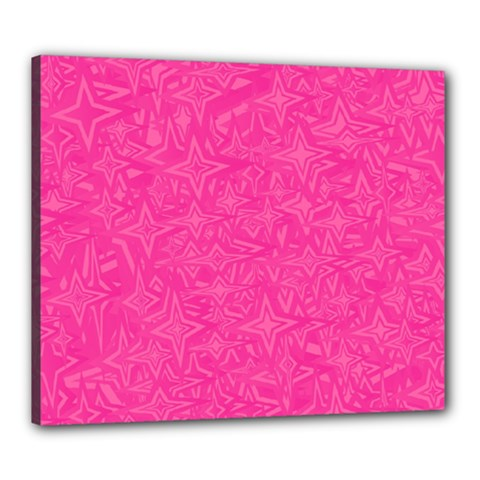 Abstract Stars In Hot Pink Canvas 24  X 20  (framed) by StuffOrSomething
