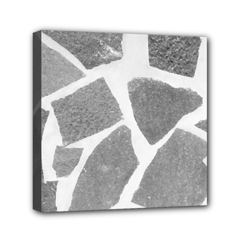 Grey White Tiles Pattern Mini Canvas 6  X 6  (framed) by yoursparklingshop