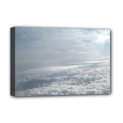 Sky Plane View Deluxe Canvas 18  X 12  (framed)