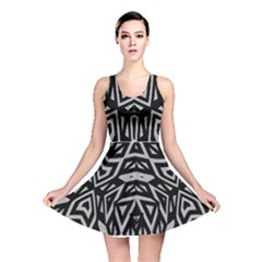 Geometric Tribal Print Reversible Skater Dress