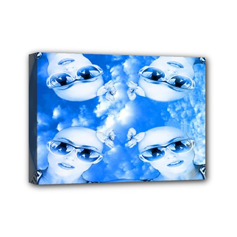 Skydivers Mini Canvas 7  X 5  (framed) by icarusismartdesigns