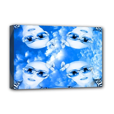 Skydivers Deluxe Canvas 18  X 12  (framed) by icarusismartdesigns